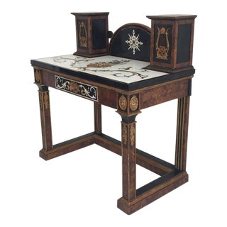 Tessellated Stone Desk or Console Table Attributed to Maitland-Smith