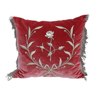 Silver Metallic Appliqued Silk Velvet Pillows - A Pair