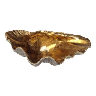 Clam Shell Bowl With Gold Interior