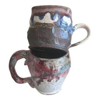 Handmade Glazed Pottery Mugs - A Pair