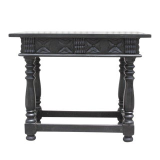 Ebony Floral Carved Console Table