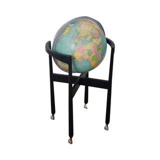 Jens Risom Hans Knoll Mid-Century Wood Frame Globe