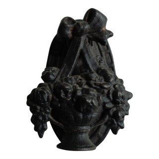 Victorian Black Flower Basket Door Knocker