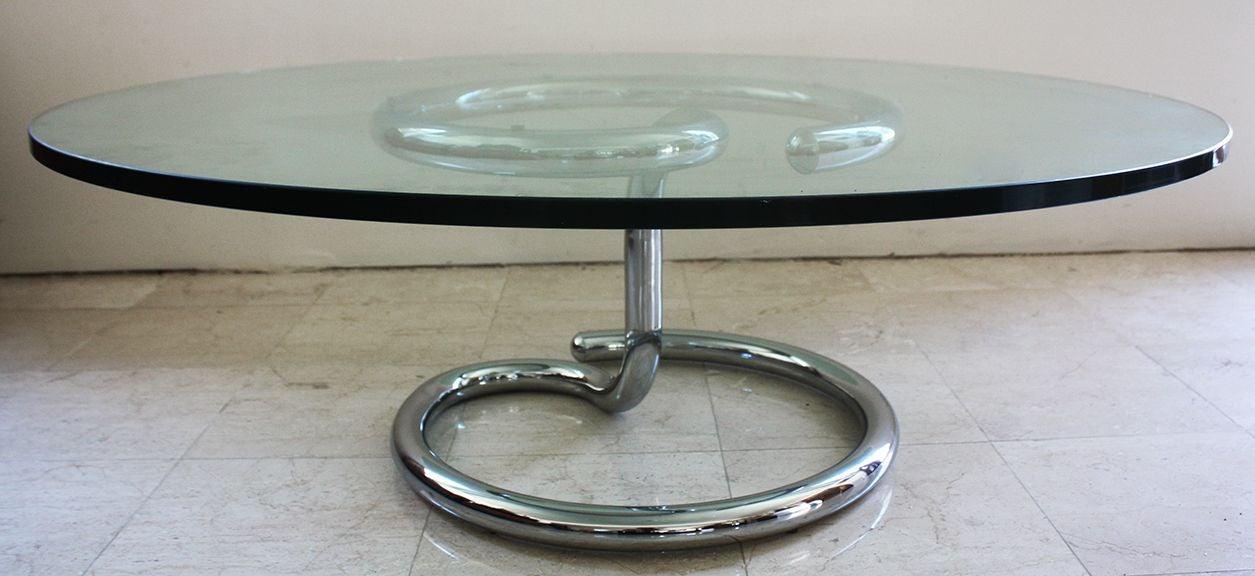 Paul Tuttle Anaconda Chrome Glass Coffee Table Chairish