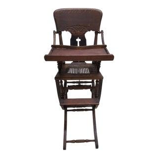Antique Childrens Victorian Era Rocking Chair Highchair