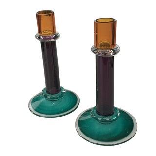 Vintage Hand Blown Glass Candlesticks - A Pair