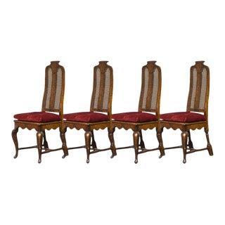 Antique Sarreid Ltd Cane Back Walnut Dining Chairs- Set of 4