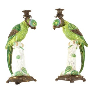 Pasargad N Y Porcelain Bird Candle Holder Porcelain - a Pair