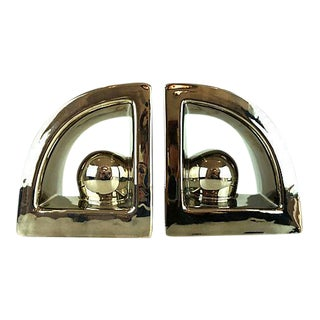 Jaru Vintage Art Deco Style Silver Metallic Bookends - A Pair