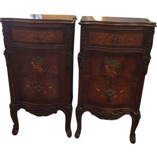 Antique French Carved Nightstands - Pair