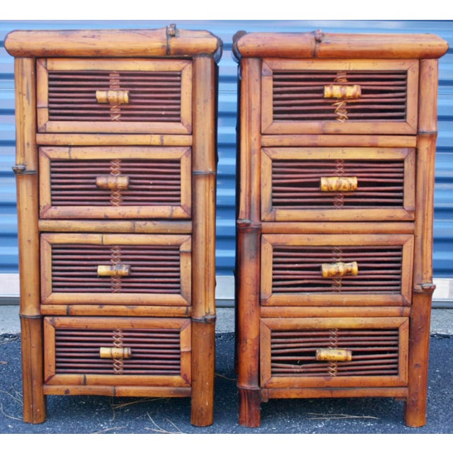 Image of Bamboo Wicker Chests of Drawers / Nightstands - a Pair