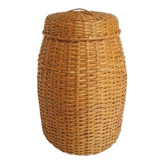 Vintage Rattan Standing Basket