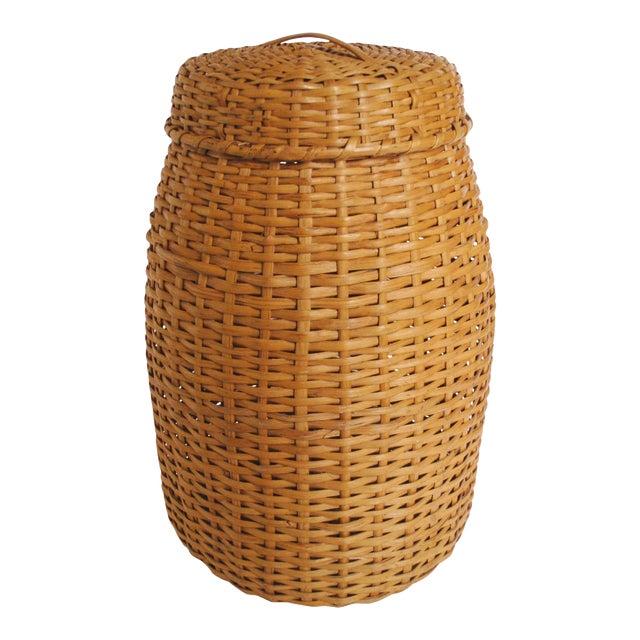 Vintage Rattan Standing Basket - Image 1 of 5
