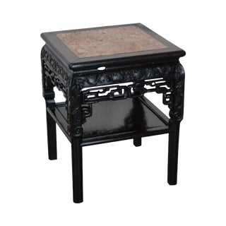 Antique Chinese Marble Top Carved Rosewood Low Table