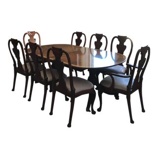 Baker Mahogany Queen Anne Style Dining Set - Set of 9