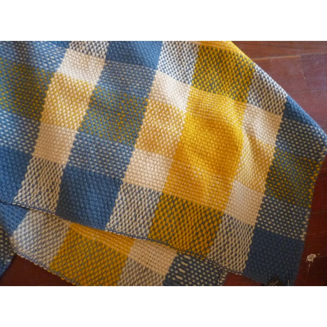 Vintage Blue and Yellow Wool Throw - Image 6 of 6