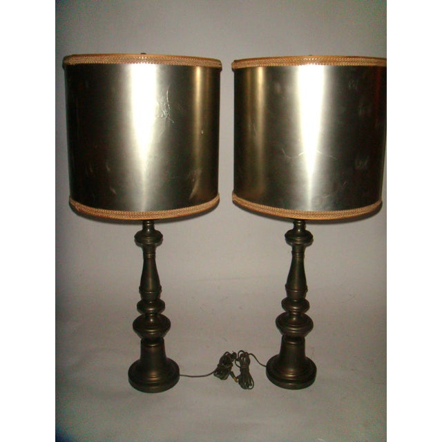 Image of 1920's Pewter Table Lamps - A Pair