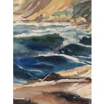 Image of Mid Century Gouache Waves and Cliffs, Thelma Moody