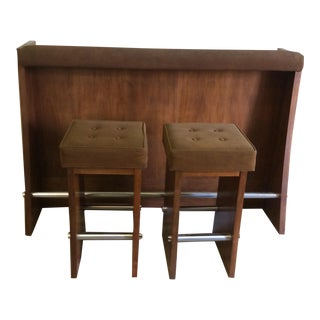 Lane Walnut and Suede Bar and Bar Stools - S/3