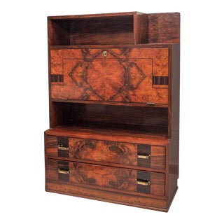 French 1940s Inlaid Fall Front Desk