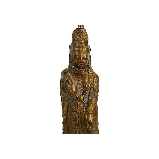 Image of Chinoiserie Gold Guan Yin Table Lamp