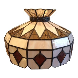 Vintage Stained Glass Swag Light Fixture