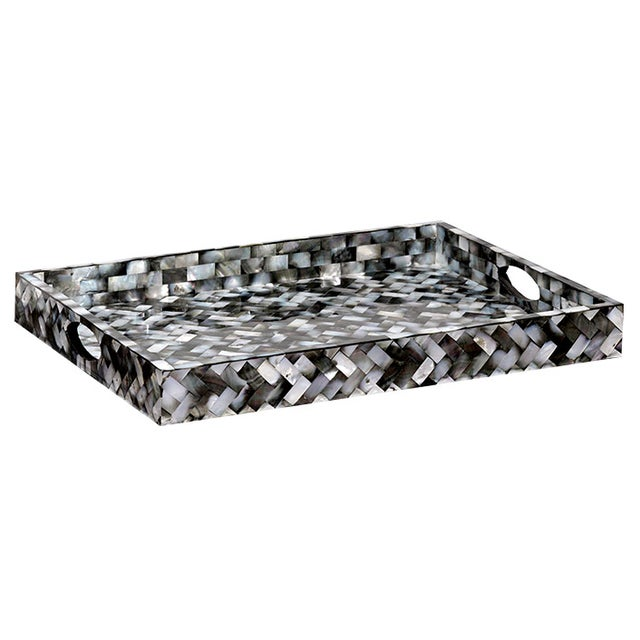 Perla Gray Mother of Pearl Decorative Tray - Image 1 of 2