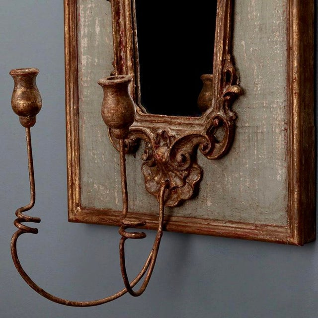 Pair 19th Century Italian Sconces With Carved Mirror and Gesso Frames - Image 10 of 10
