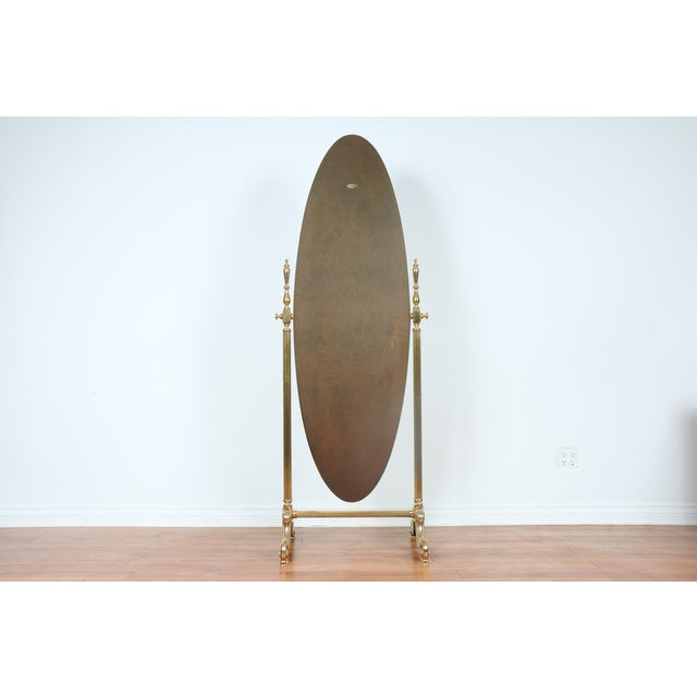 Gold Brass Vintage Floor Mirror - Image 2 of 11