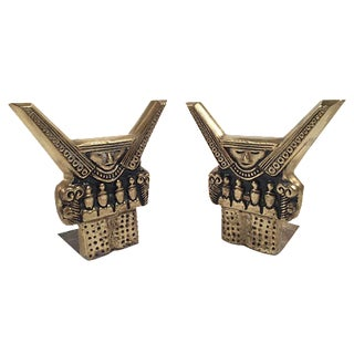 Aztec Style Brass Bookends - Pair