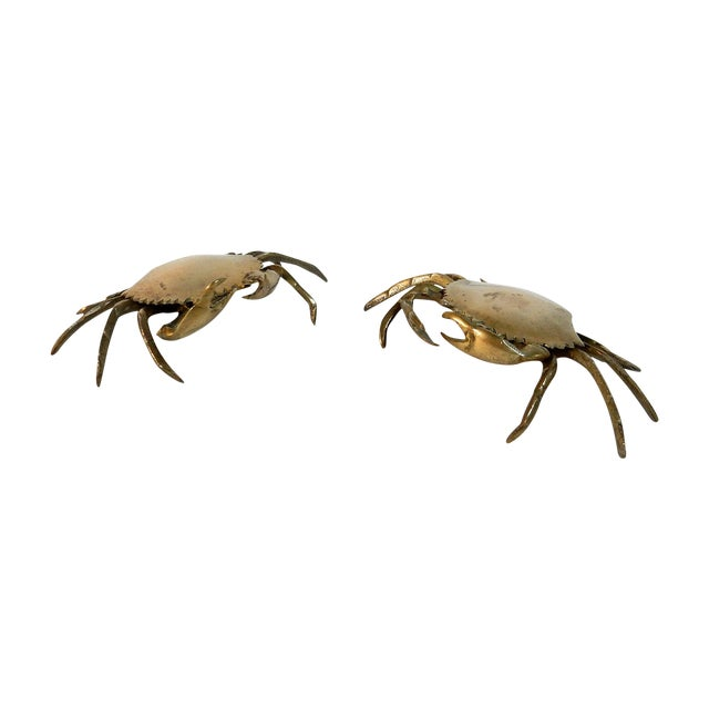 Image of Solid Brass Crabs With Brass Tray - Pair