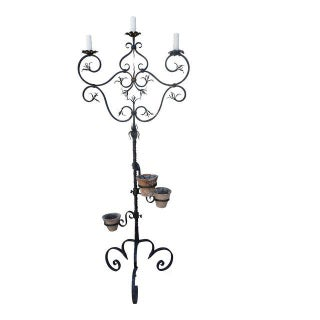Spanish 3-Light Wrought Iron Candelabra Lamp