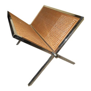 Mid Century Cane X Base Chrome Magazine Rack