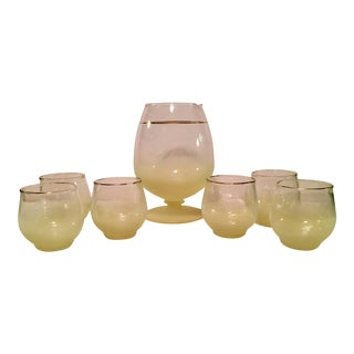 Mid-Century Modern Yellow Frosted Cocktail Pitcher & Glasses- Set of 7