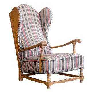 Danish High Wingback Armchair in Oak