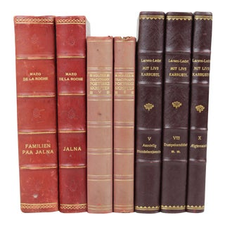 Scandinavian Leather Bound Books - S/7