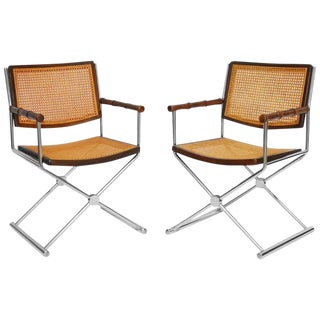 Mid-Century Chrome and Caned Director Chairs - A Pair