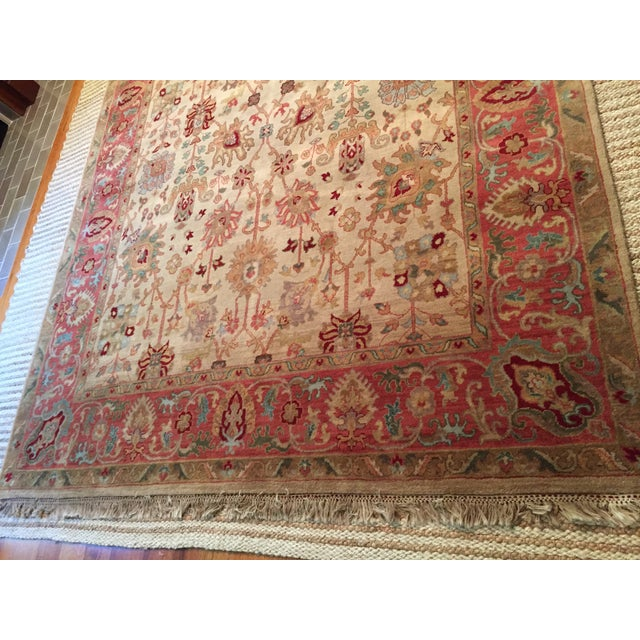 Designer Wool Rug Cream & Red - 8' x 11' - Image 7 of 10