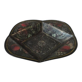 19thc Original Decorated Toleware Apple Tray From Pennsylvania