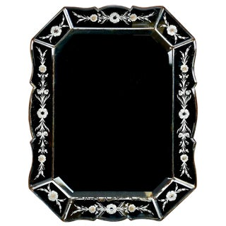 Art Deco Italian Venetian Mirror with Eight-Sided Etched Frame