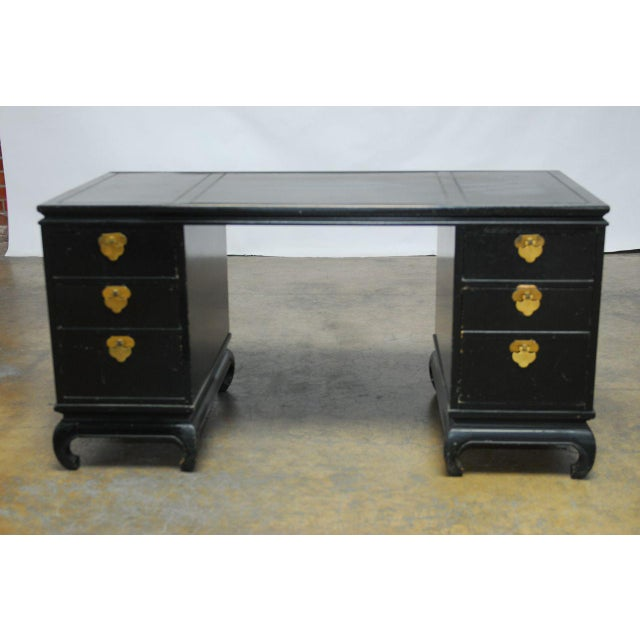 Mid-Century James Mont Style Asian Lacquered Desk - Image 2 of 9
