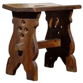 Spanish Oak Stool with Slopping Top and Handle from the Early 20th Century