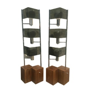 Mid Century Smoked Lucite Lamps - a Pair