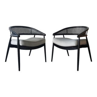 James Mont Ebonized Lounge Chairs - A Pair