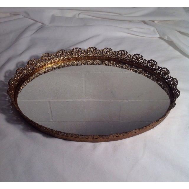 Ornate Mid-Century Brass Mirrored Tray - Image 4 of 4