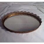 Image of Ornate Mid-Century Brass Mirrored Tray