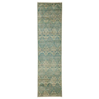 "Eclectic, Hand Knotted Green Wool Runner Rug - 2' 6"" X 9' 9"""