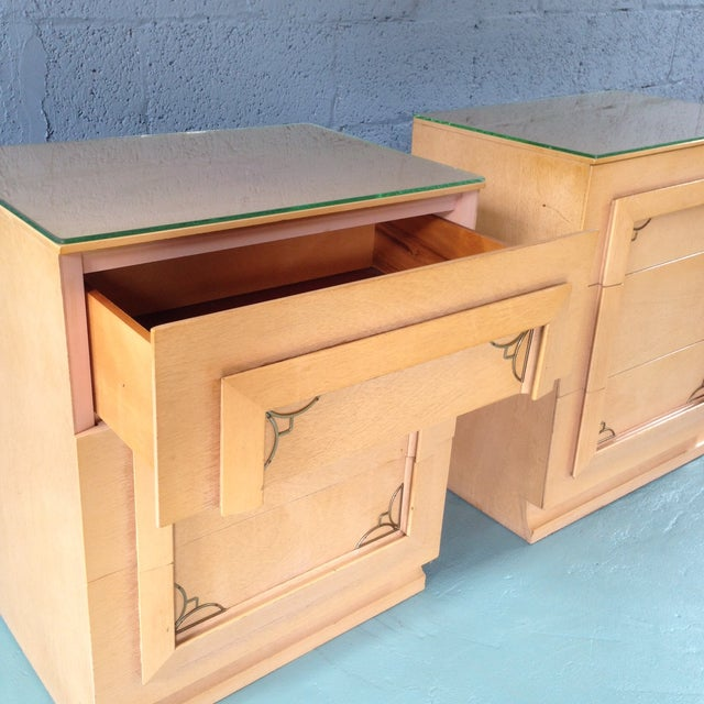 Image of Blonde Nightstands With Brass Detail - Pair