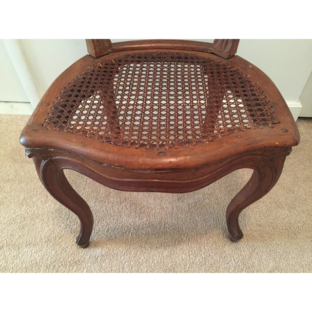 Antique French Hand-Carved Caned Side Chair - Image 3 of 8