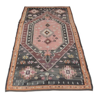 Turkish Floral Kilim Rug - 5′4″ × 10′11″